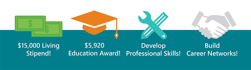 $15,000 Living Stipend - $5,920 Education Award! - Develop Professional Skills - Build Career Networks